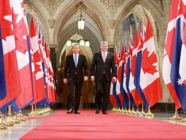 Tony Abbott with Canadian Prime Minister Stephen Harper. Picture: Josh Wilson/Office of The Prime Minister