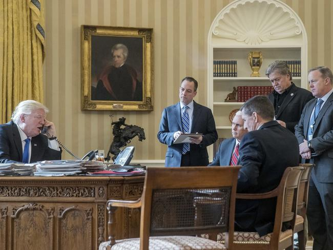 Donald Trump's inner sanctum doesn't look like this anymore with the departures of Chief of Staff Reince Priebus, National Security Adviser Michael Flynn, Senior Adviser Steve Bannon, and White House press secretary Sean Spicer. Picture: AP Photo/Andrew Harnik