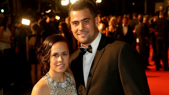 Andrew Fifita with Nikkita Kafoa on the red carpet at the Dally M Awards. Picture: Gregg Porteous