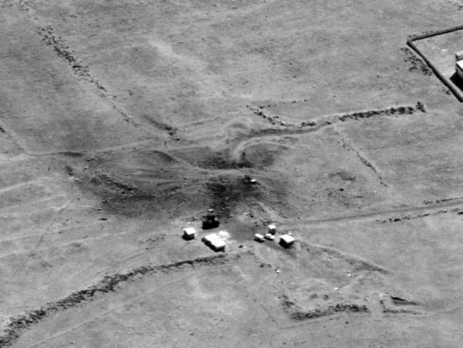 This image provided by the Department of Defense shows the preliminary damage assessment from the Him Shinshar Chemical Weapons Bunker in Syria that was struck by missiles from the US-led coalition.