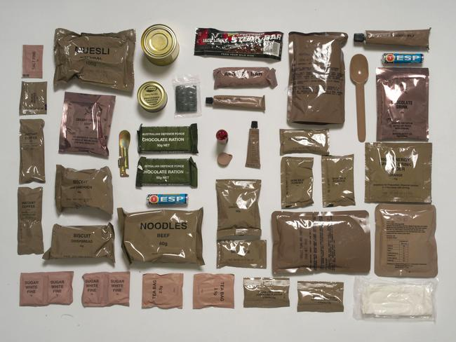 The Australian ration pack. Picture: Sarah Lee / Eyevine