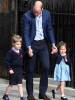 Prince William Duke of Cambridge & Catherine Duchess of Cambridge leave St Mary's Hospital with their new baby boy, Lindo Wing, London. 23 Apr 2018 Pictured: Prince George, Prince William Duke of Cambridge, Princess Charlotte. Photo credit: MEGA TheMegaAgency.com +1 888 505 6342