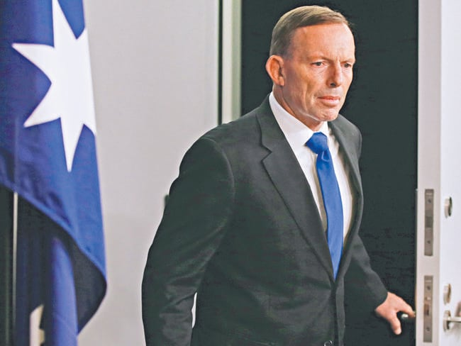 Prime Minister Tony Abbott gives a statement to media at his Sydney Office ahead of tomorrows Liberal leadership spill. Picture Cameron Richardson.