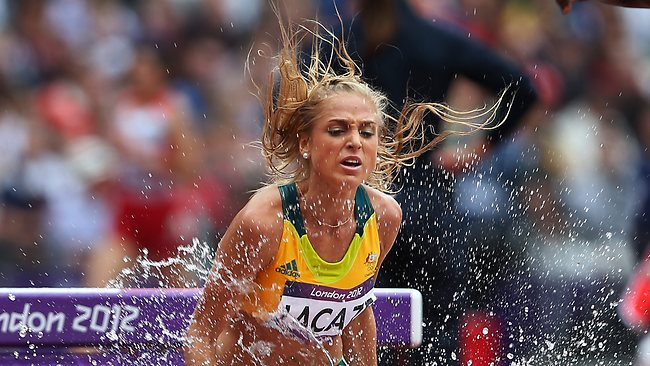 Australia's Genevieve Lacave competes in the Women's 3000m Steeplechase Round 1. Picture: Phil Hillyard