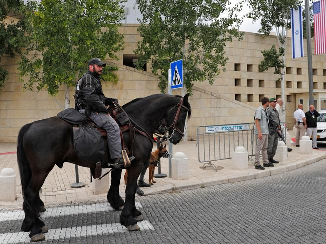 Israeli security forces stand guard outside the US consulate in Jerusalem ahead of it becoming the official embassy. Picture: AFP