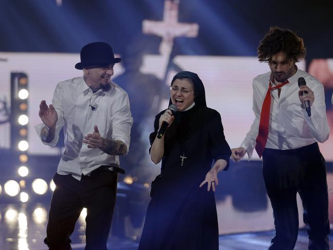 "Holy roller ... Sister Cristina Scuccia performs after winning the final of the Italian version of ""The Voice"" in Milan. Picture: AP"