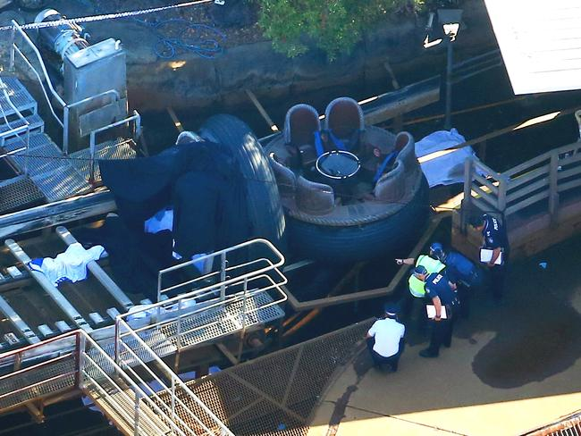 Two people were flung off the ride while others were trapped under a conveyor belt. Picture: David Clark