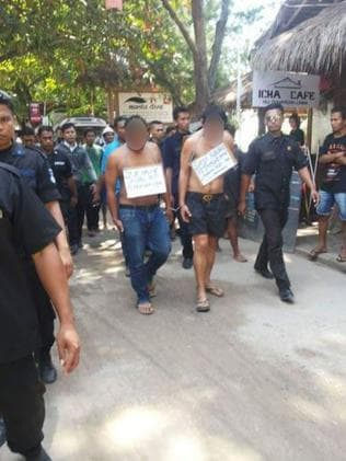 Two men, believed to be Indonesian, on the walk. Picture: Facebook/Stand Still