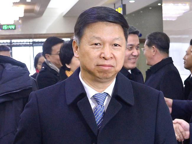 Song Tao, the head of China's ruling Communist Party's International Liaison Department, arrives at Pyongyang International Airport in Pyongyang, North Korea. Picture: Kyodo News via AP