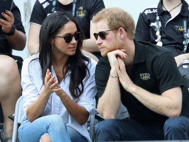 Prince Harry and Meghan Markle attend a Wheelchair Tennis match during the Invictus Games 2017. Picture: Getty