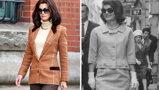 Katie holmes channels jackie kennedy onassis while filming for Jackie kennedy movie