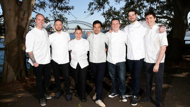 Rising young chefs (from left) Dale Sutton, Clayton Wells, Anna Polyviou, Hanz Gueco, Richie Dolan, Simon Tarlington and Josh Niland
