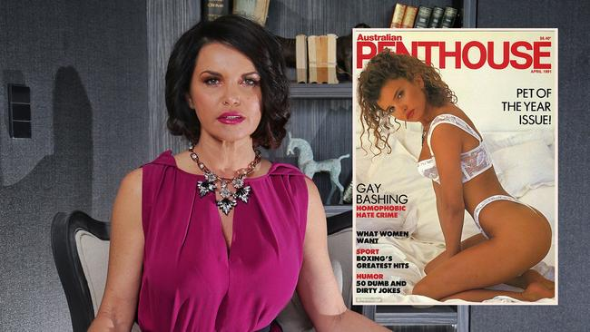 Suzi Taylor, contestant from The Block in one of her rooms in South Yarra, Victoria. Picture: Hamish Blair Inset pic of the cover of Penthouse featuring the Gold Coast woman.