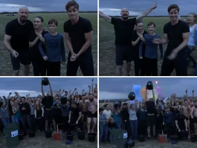 "Actor Hugh Jackman and the Pan cast, ""#ALSIceBucketChallenge @RussellCrowe @WMEFoundation @RickyGervais""... VIEW VIDEO Picture: Twitter"