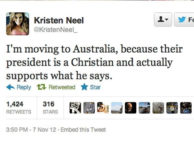 "Kristen Neel praised Australia's ""Christian, male president"" on Twitter, before copping a barrage of responses and eventually deleting her account. Picture via Twitter"