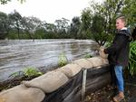 Flooding of the North Para River in the Barossa. Luke Bartsch stands at the front of his property in Tanunda and watches nervously as the river rises. Picture: Dean Martin