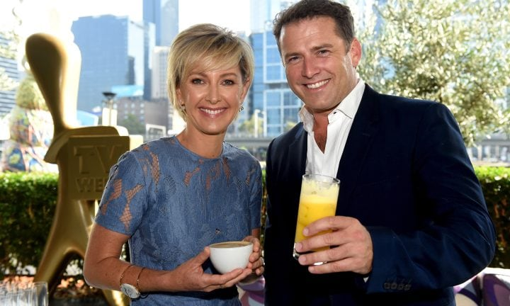 Confidential. Channel 9 talent at Rosetta for their post Logies brunch. Deborah Knight and Karl Stefanovic. Picture: Kylie Else
