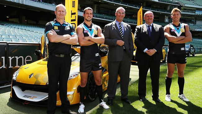 Port Adelaide coach Ken Hinkley, captain Travis Boak, chairman David Koch, Chris Bayman of Renault and Port vice captain Brad Ebert during the announcement of Renault as Port Adelaide's new sponsor at the MCG. Picture: Hamish Blair
