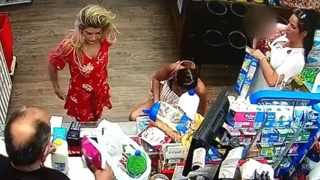 The group at Chevron Island's Spar supermarket. It is alleged they left without paying for around $150 of groceries. Picture: Channel 7.