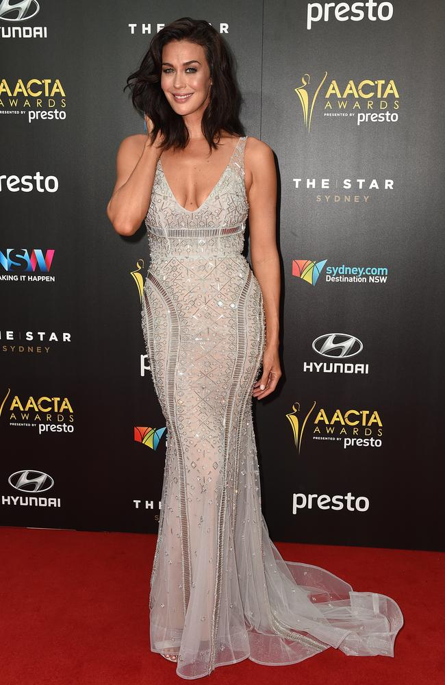 Megan Gale arrives ahead of the 5th AACTA Awards Presented by Presto at The Star on December 9, 2015 in Sydney, Australia. Picture: AAP