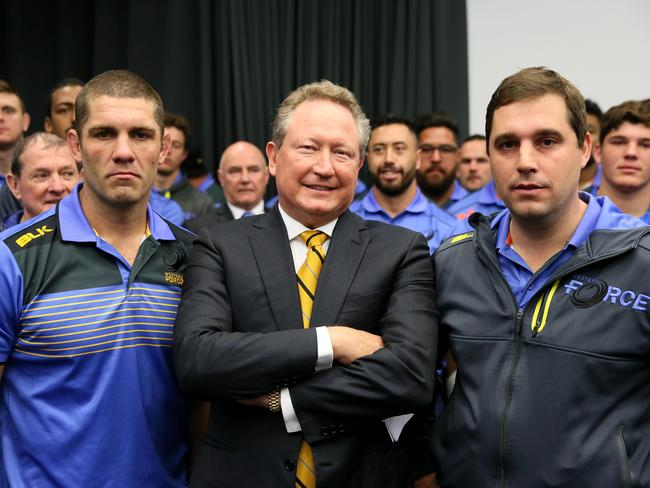 Western Force captain Matt Hodgson, Andrew Forrest and coach David Wessels. Picture: Colin Murty