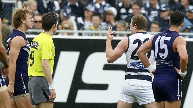 Cat Steve Johnson wasn't happy with treatment he received from Chris Mayne. Picture: Wayne Ludbey