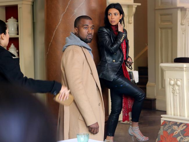 Kim and Kanye seen heading to a restaurant in Prague for dinner. Picture: australscope