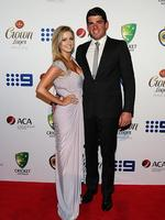 Moises Henriques and Krista Thomas on the red carpet of the 2014 Allan Border medal. Pic Brett Costello