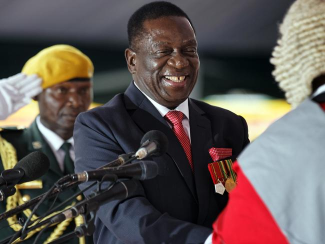 Emmerson Mnangagwa, centre, is sworn in as President at the presidential inauguration ceremony. Picture: AP