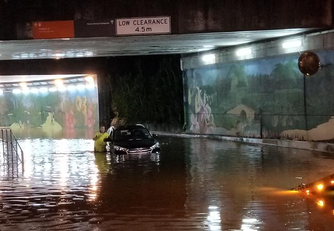 Flooding at Roma St in Brisbane this morning after the overnight downpour. Picture: Chris Bartlett