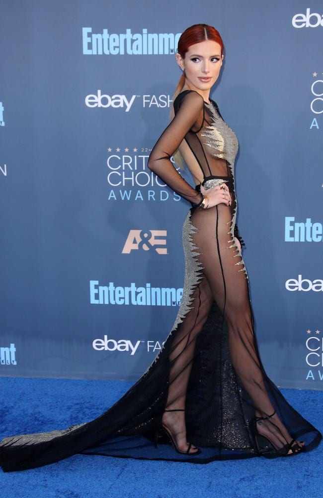 Thorne shows off some serious skin in the edgy Steven Khalil gown.