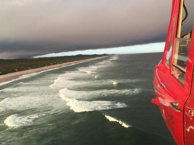 The large swell is apparent from the air. Picture: Twitter