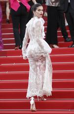 Sara Sampaio poses for photographers upon arrival at the screening of the film The Killing Of A Sacred Deer at the 70th international film festival, Cannes, southern France, Monday, May 22, 2017. Picture: AP