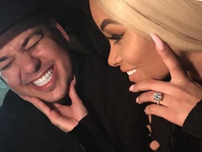Blac Chyna posted this image with Rob Kardashian where she is wearing an engagement ring. Picture: Instagram