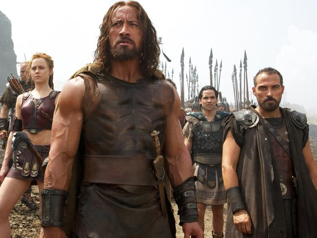 Aksel Hennie as Tydeus, Ingrid Bolso Berdal as Atalanta, Dwayne Johnson as Hercules, Reece Ritchie as Iolaus, and Rufus Sewell as Autolycus in  <i>Hercules</i>.