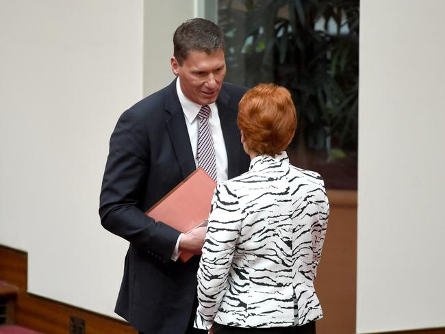 One Nation Senators Pauline Hanson and Liberal Senator Cory Bernadi. Picture: AAP/Mick Tsikas