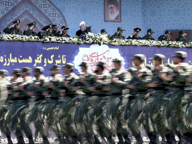Iran's Revolutionary Guard unveiled its latest ballistic missile capable of reaching much of the Middle East, including Israel, during a military parade last Friday. Picture: Ebrahim Noroozi/AP