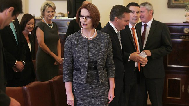 The Prime Minister Julia Gillard before the ceremony started. Picture: Gary Ramage