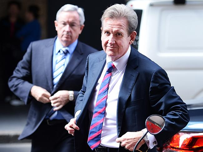 Former premier Barry O'Farrell arrives at ICAC with Brad Hazzard after resigning today