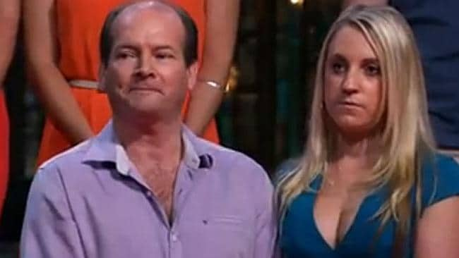 The disappointment over the result is obvious on the couple's faces. Picture: Screengrab/