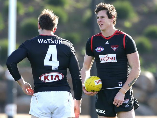Jake Carlisle (right) with Jobe Watson during Essendon training at their training facility on Tuesday, July 29, 2014 in Tullamarine, Australia. Picture: Hamish Blair
