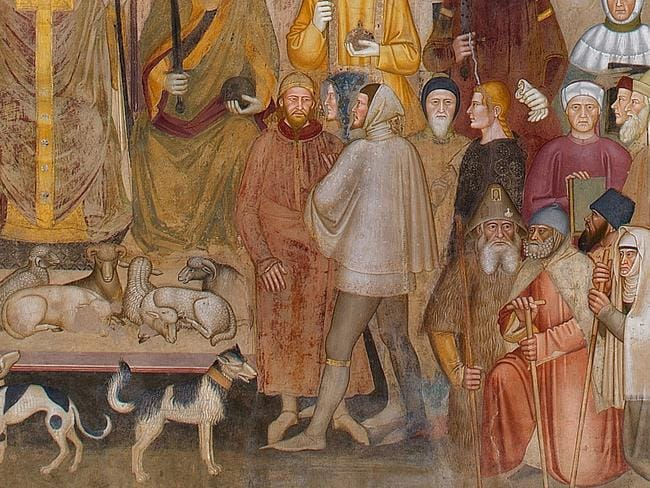 A detail from the fresco 'The Way of Salvation/The Church Militant and the Church Triumphant', c. 1365—8, with the figures at the centre identified as an English knight of the Garter talking to a Mongol. Picture: Wikimedia