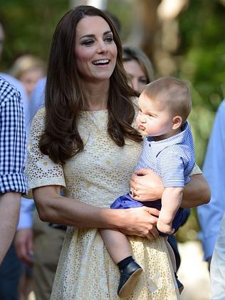 Not happy mum! Prince George expresses his dissatisfaction at Taronga Zoo. Picture: Splash