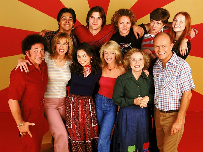 The cast of That 70s Show (top l-r) Wilmer Valerrama with Ashton Kutcher, Danny Masterson, Topher Grace, Laura Prepon, (front l-r) Don Stark, Tanya Roberts, Mila Kunis, Lisa Robin Kelly, Debra Jo Rupp and Kurtwood Smith.