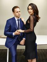 Patrick J. Adams as Michael Ross, Meghan Markle as Rachel Zane for the TV series SUITS. Picture: Nigel Parry/USA Network