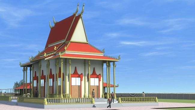 An artist's impression of the proposed new Buddhist temple at MacDonald Park.