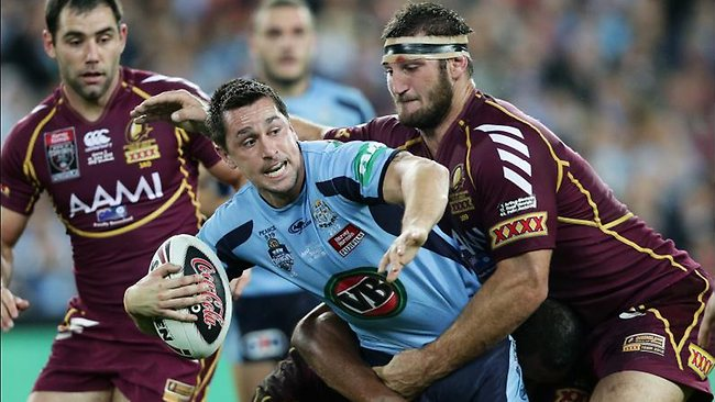 Laurie Daley says Mitchell Pearce is developing into a real leader on the field. Picture: Gregg Porteous