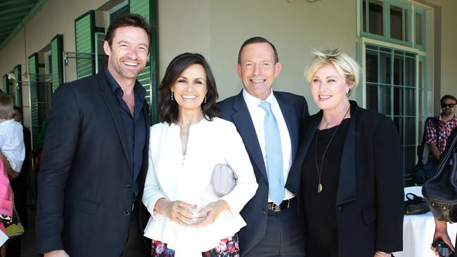Close ties...Hugh Jackman and Tony Abbott pictured here with Channel 9's Lisa Wilkinson (second from the left) and Hugh's wife Deborra-Lee Furness.