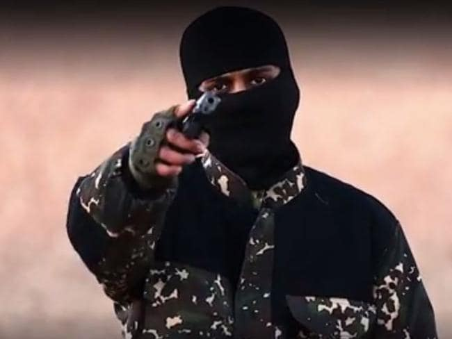 Disgraceful ... a masked killer threatened British Prime Minister David Cameron in a new ISIS video. Picture: YouTube