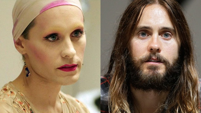 Then and now ... Jared Leto in Dallas Buyers Club and out. Pictures: Supplied.